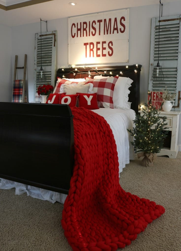 master bedroom Christmas home tour