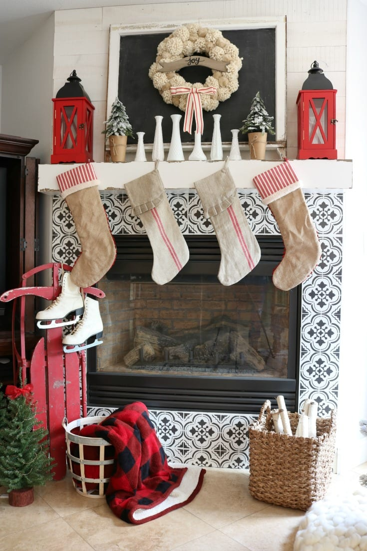 Christmas home fireplace and mantle decor