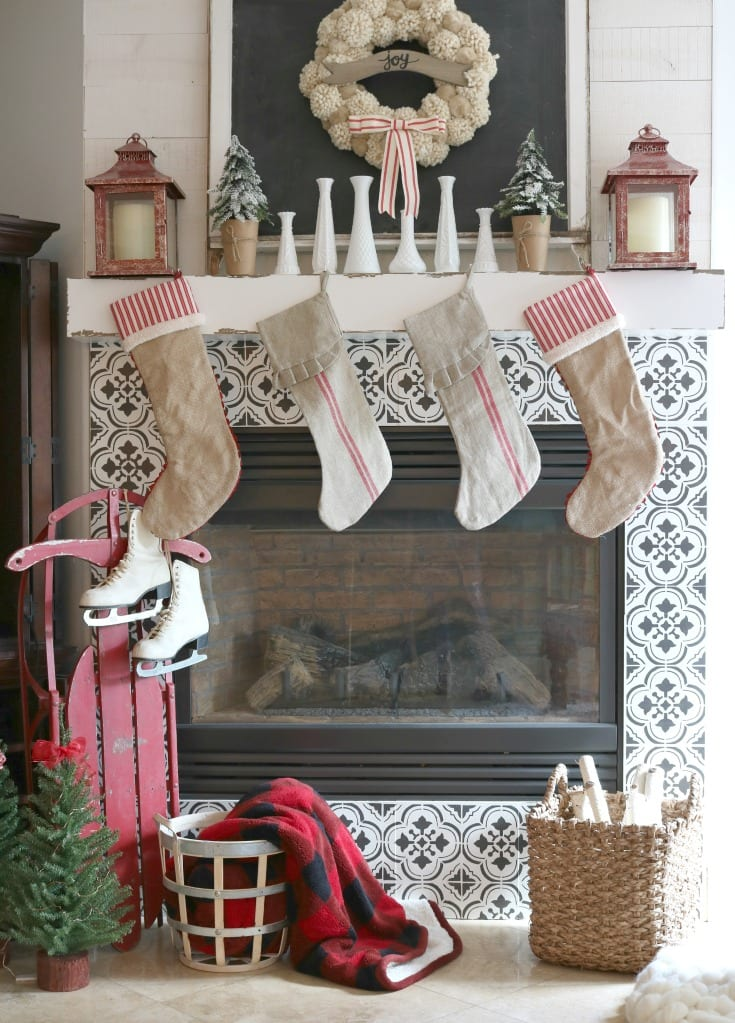 Christmas decorating fireplace mantle
