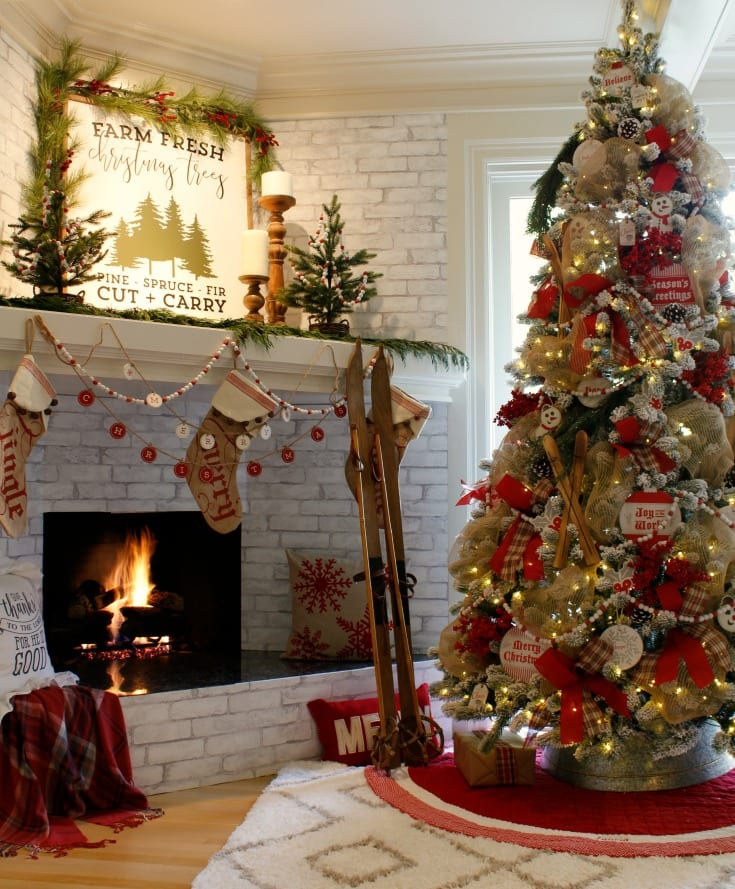 Cozy christmas fireplace decorating