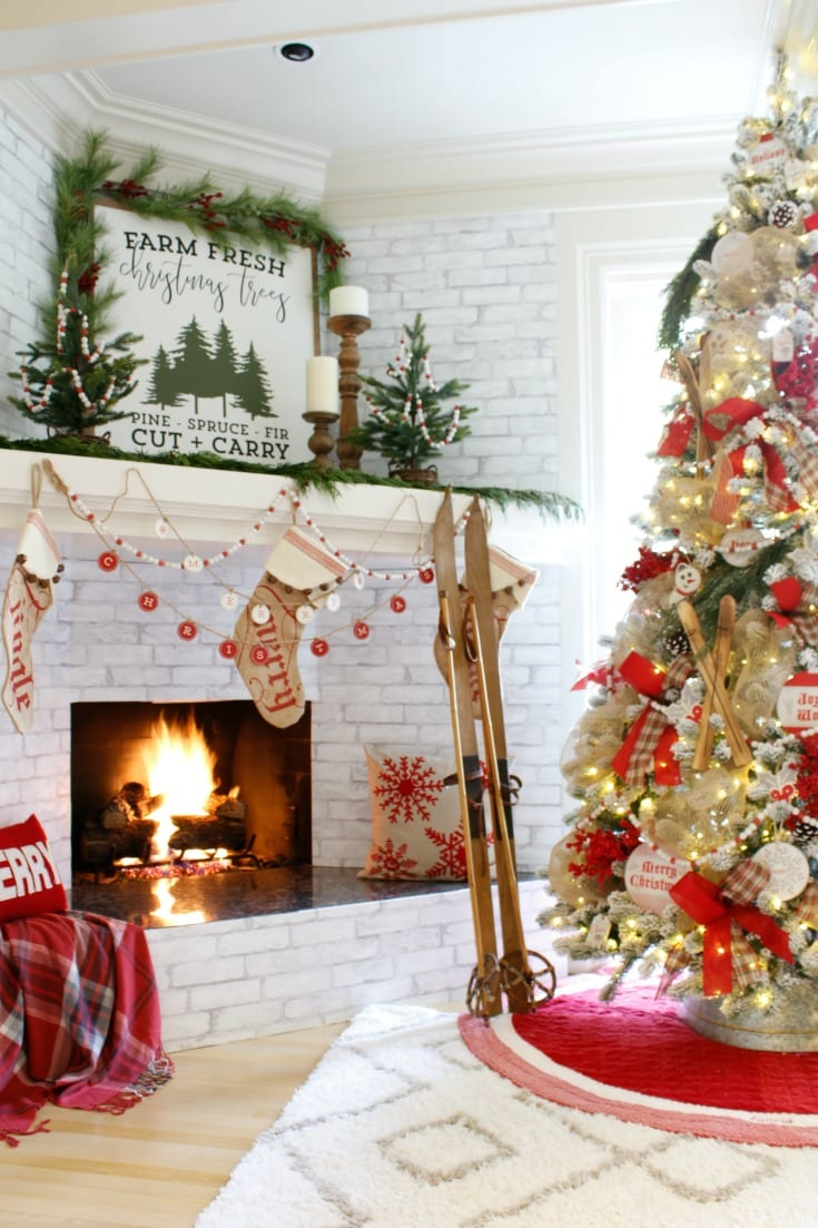 Merry and Bright festive christmas fireplace