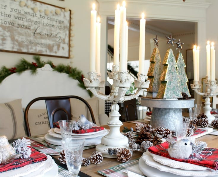 Christmas decorating dining room table setting