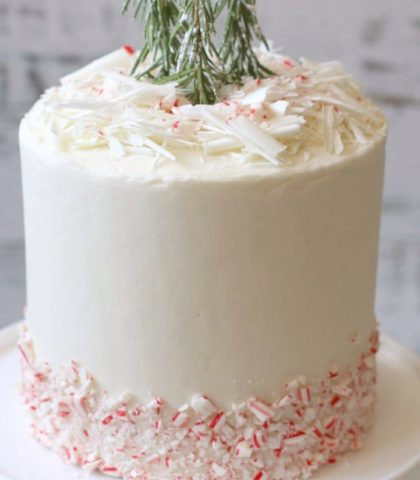 Holiday Entertaining white peppermint cake