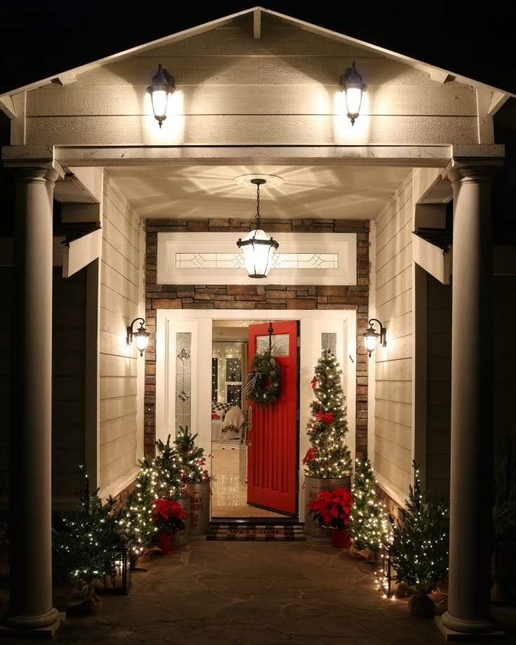 Festive Christmas front porch decor