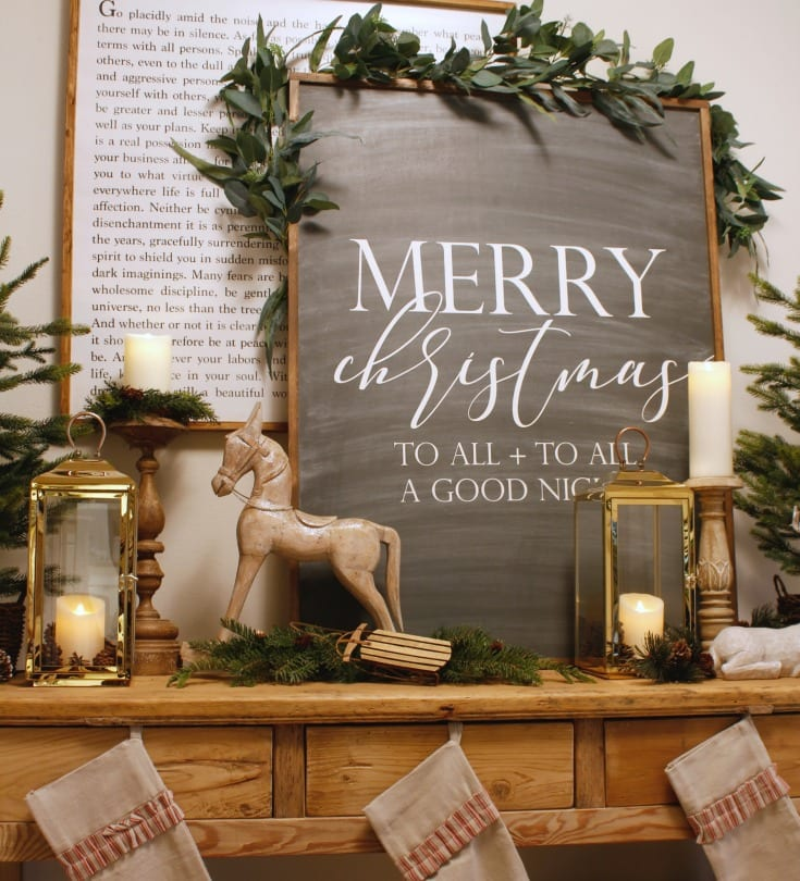 farmhouse style holiday decor merry christmas sign and stockings