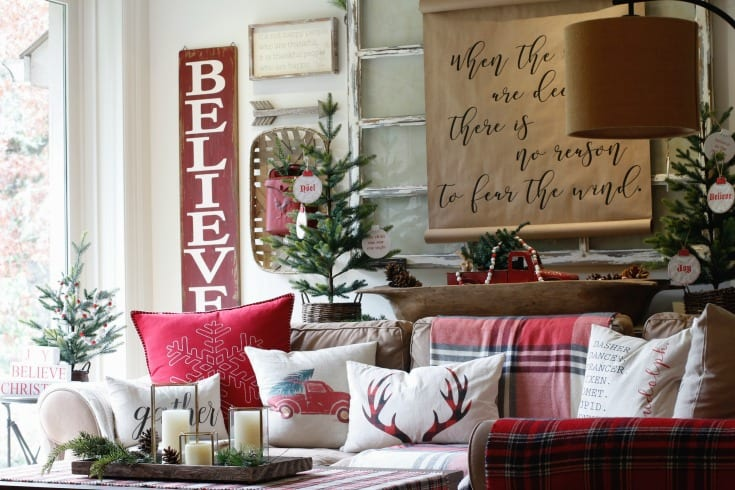 cozy holiday pillows and chrismtas living room