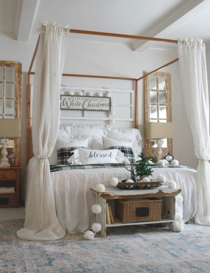beautiful neutral christmas bedroom