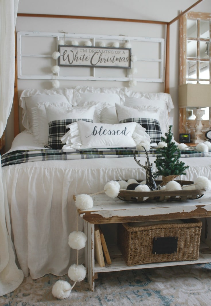 Cozy festive winter bedroom decor