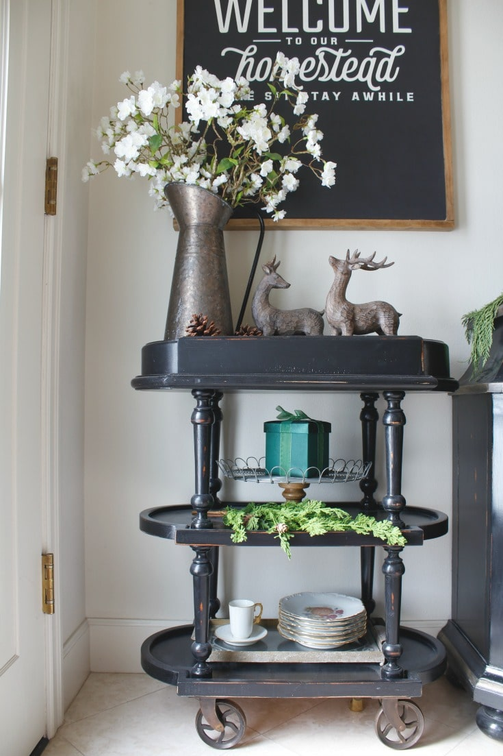 Festive black bar cart details