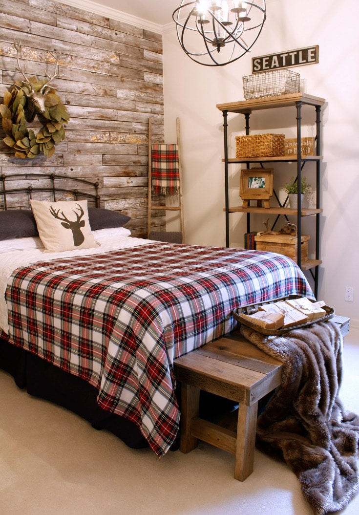 Faux fur throw and plaid bedding