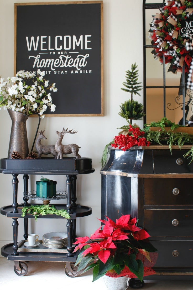 festive bar cart entryway decor