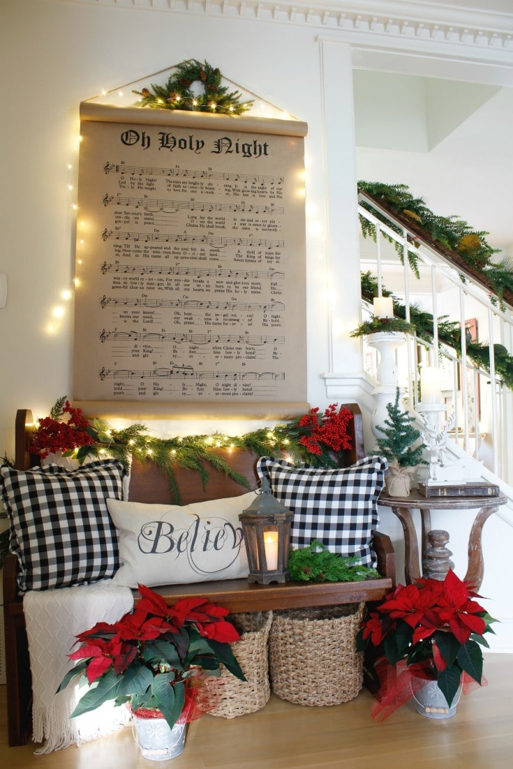 Buffalo plaid pillows festive bench