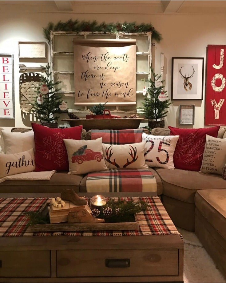 Cozy christmas family room