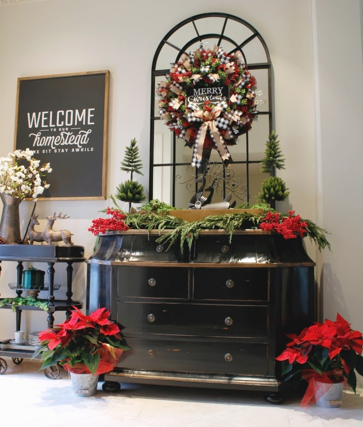 Festive holiday decor entryway welcome