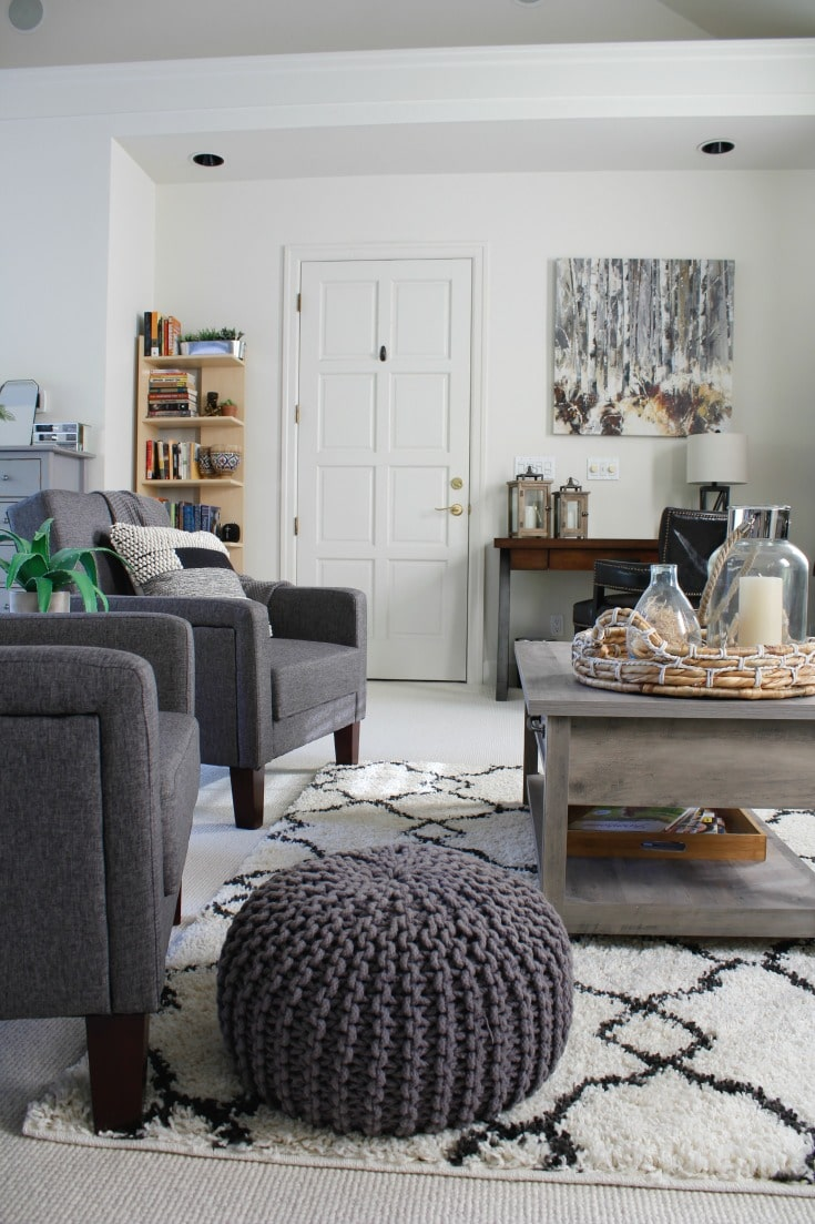 gray poof neutral decor