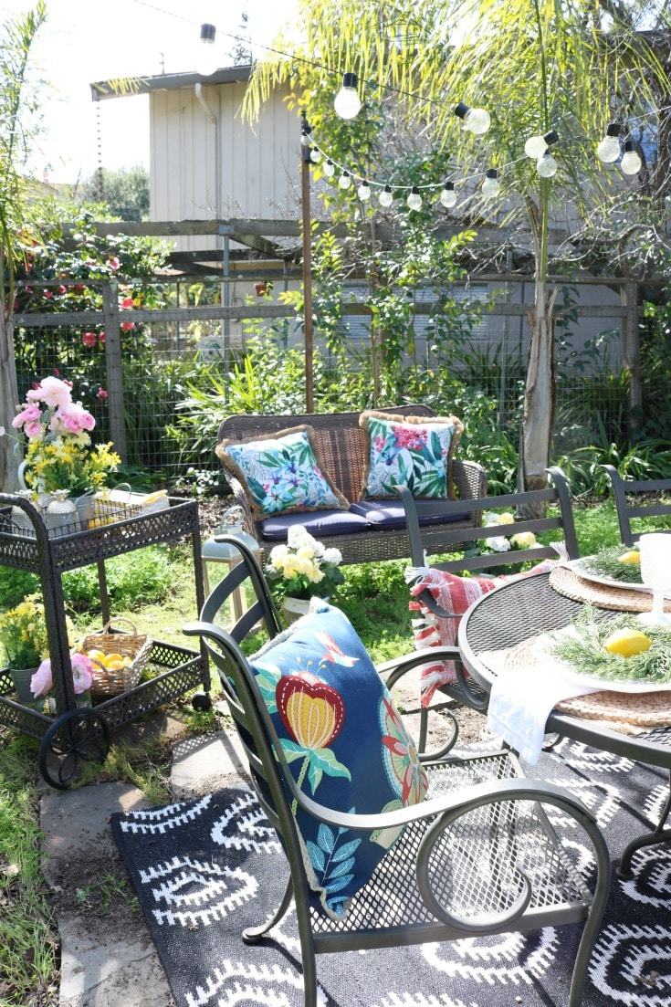spring garden party with flowers & pillows