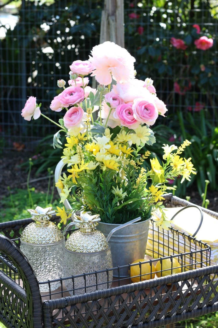 outdoor serving cart with flowers