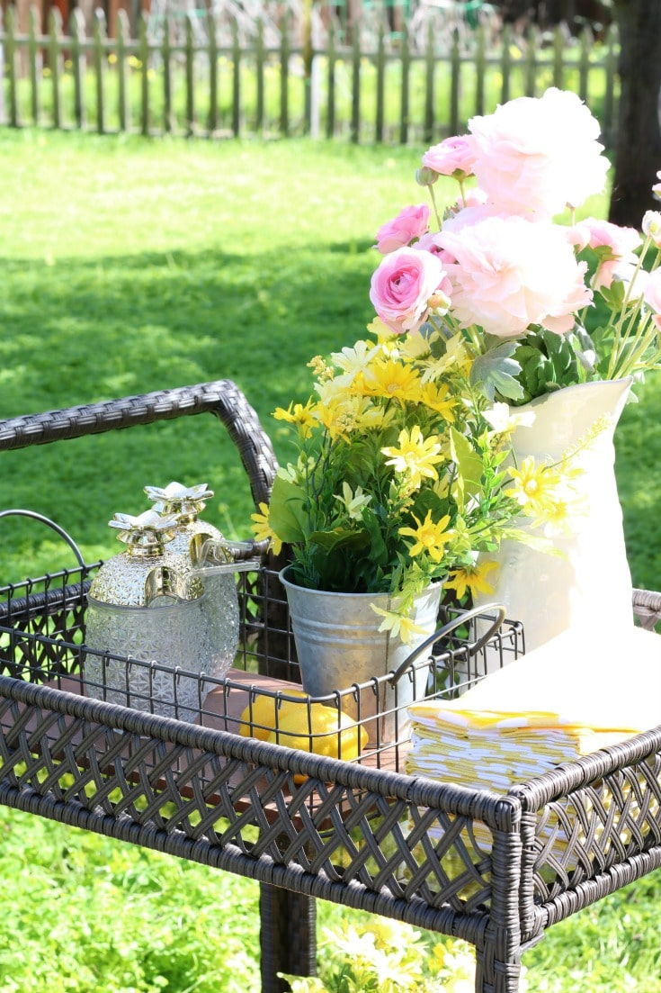 backyard garden party with serving cart