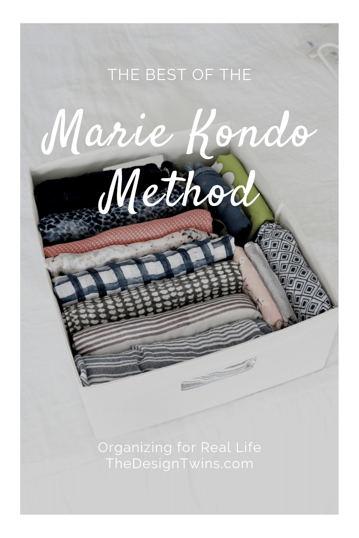 folded scarves in organized bin using marie kondo organizing method