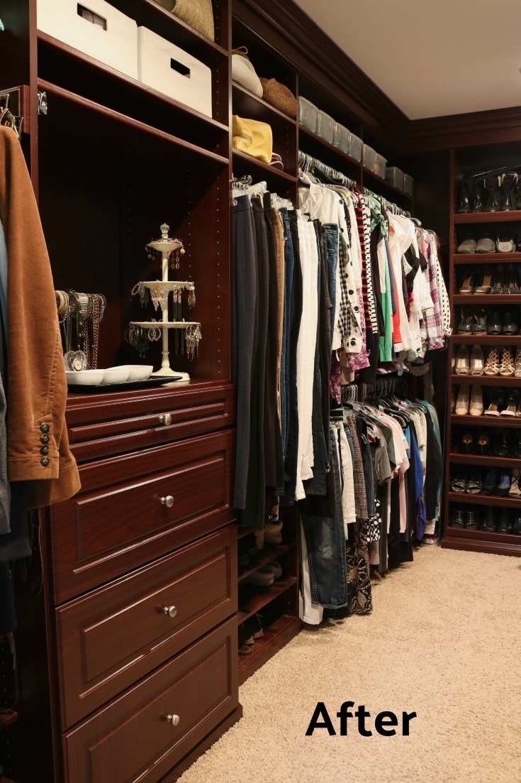 clean and organized master closet using Marie Kondo organizing method