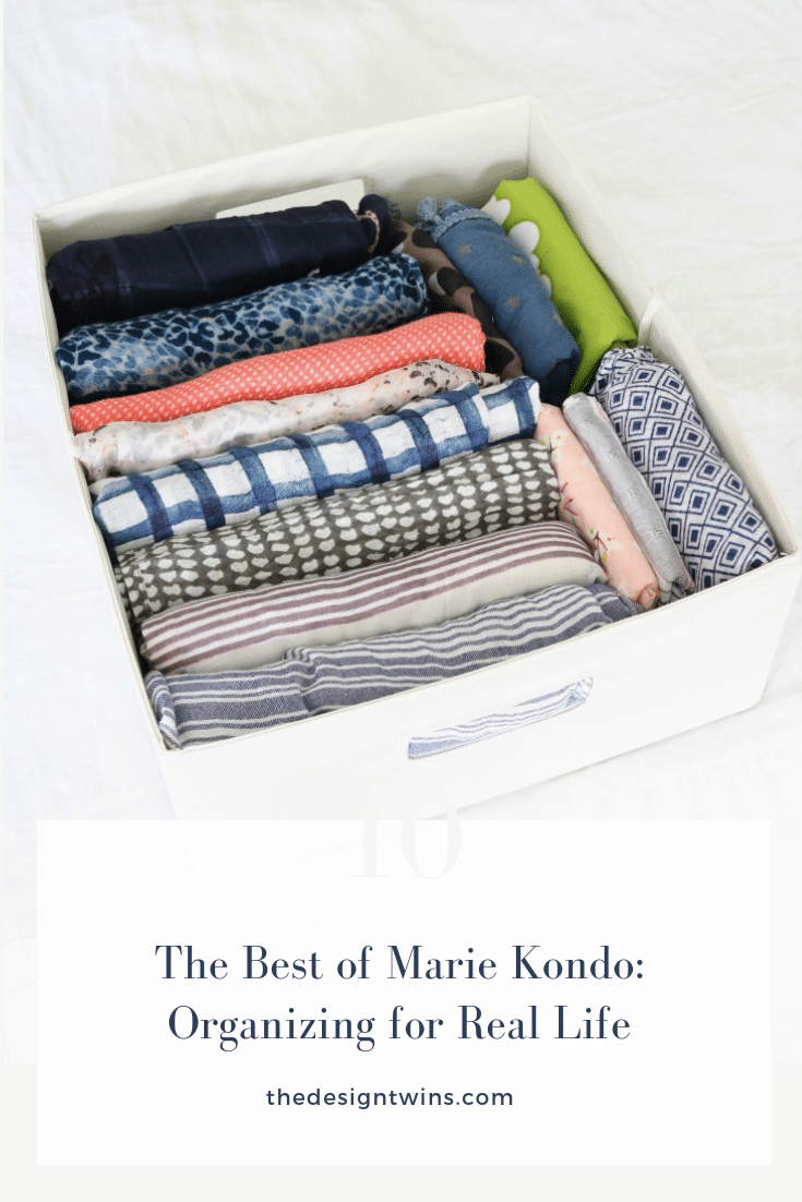 colorful folded scarves in bin using Marie Kondo organizing method