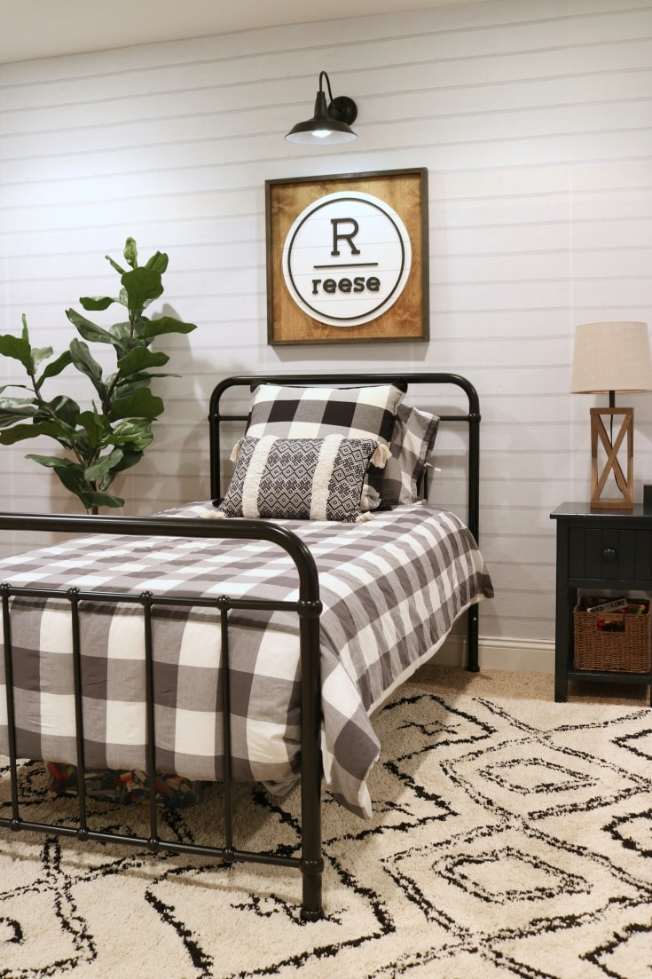 boys bedroom makeover with neutral palette and buffalo plaid