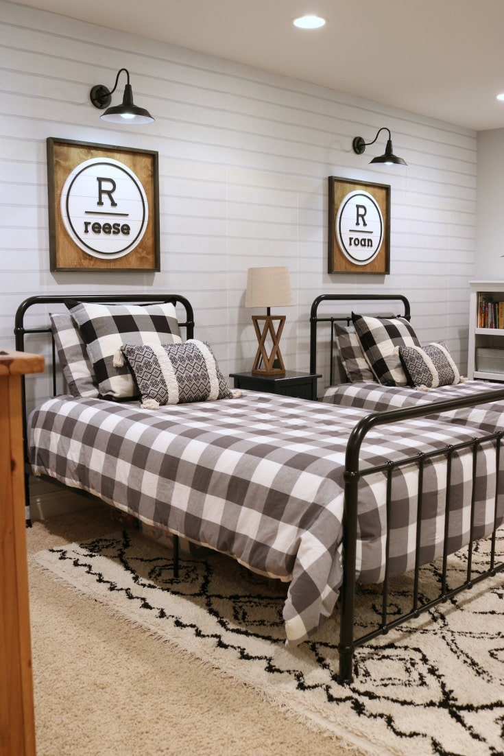 twin beds are focal point for boys bedroom decor