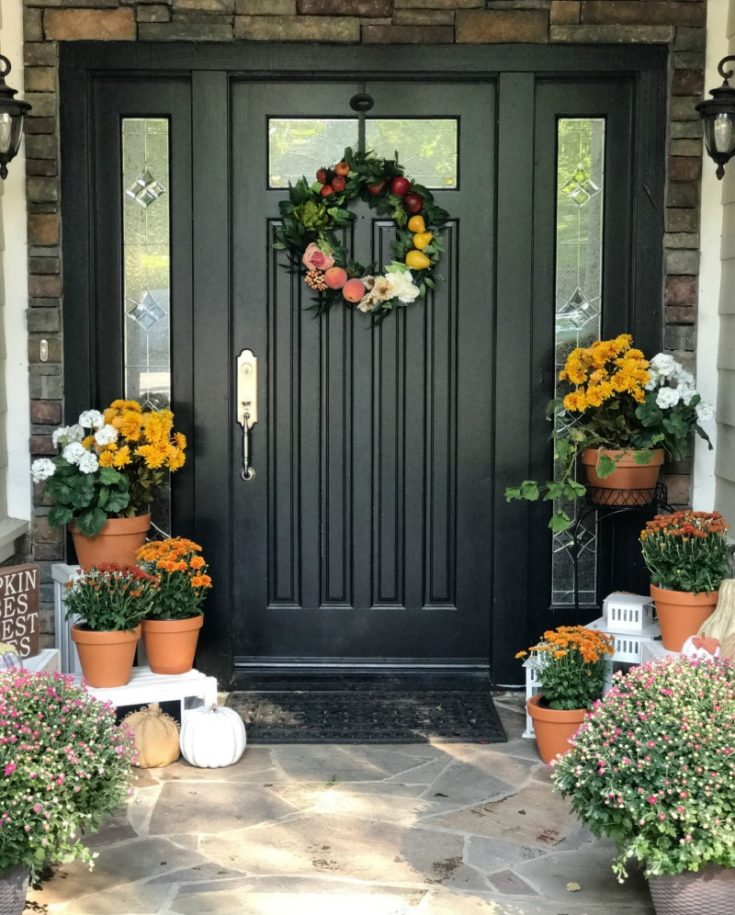 Best tips for painting plus step by step process for how to repaint your front door. Plus creating your best fall front porch