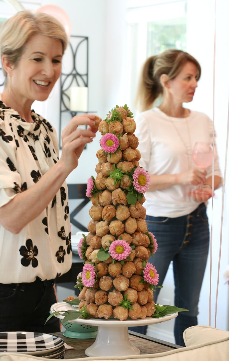 how to decorate doughnut hole tower