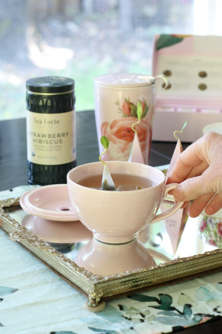 tea gifting ideas with tea cup and serving tray