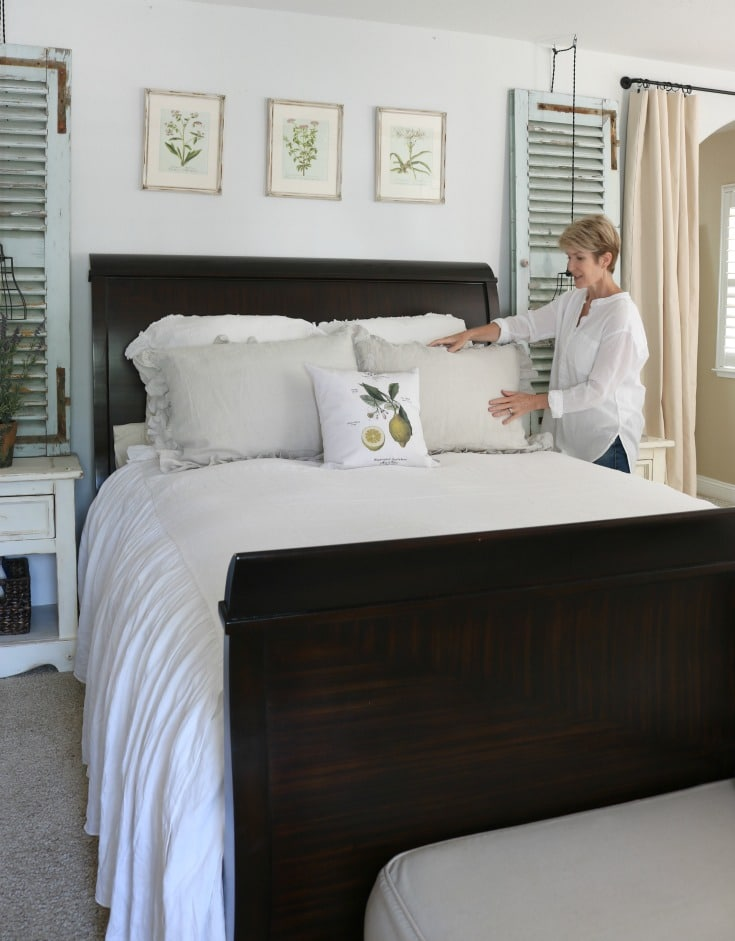luxurious pillows and linens part of easy master bedroom makeover