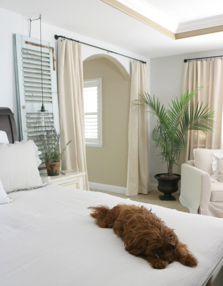 neutral bedroom and diy hacks like these drop cloth curtains plus puppy