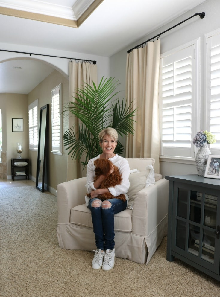 puppy and me portrait in my new bedroom and cozy new chair
