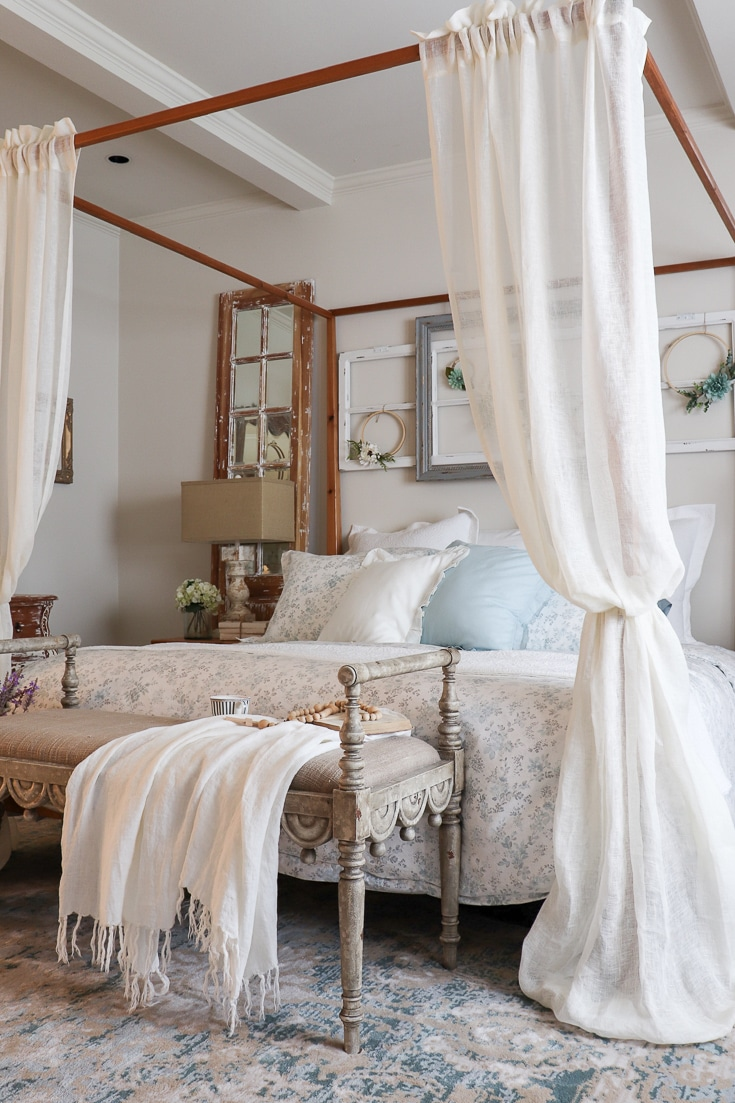 buying bedding options like this romantic floral comforter and dreamy pillows