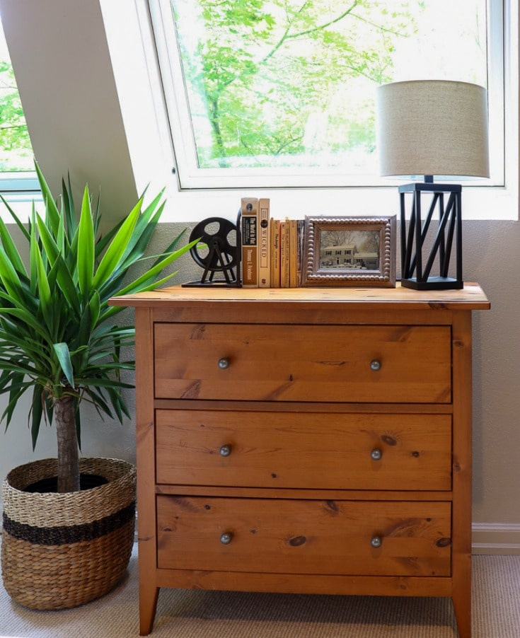 wood dresser with plant and modern lamp