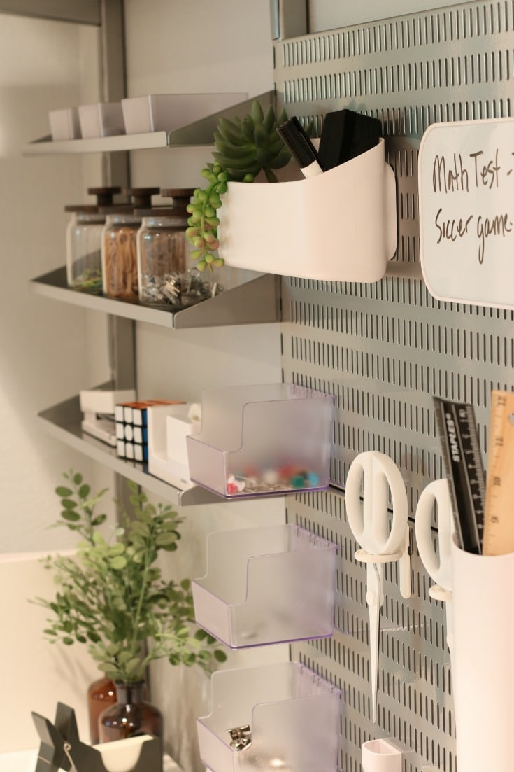 wall grid system creates organized storage