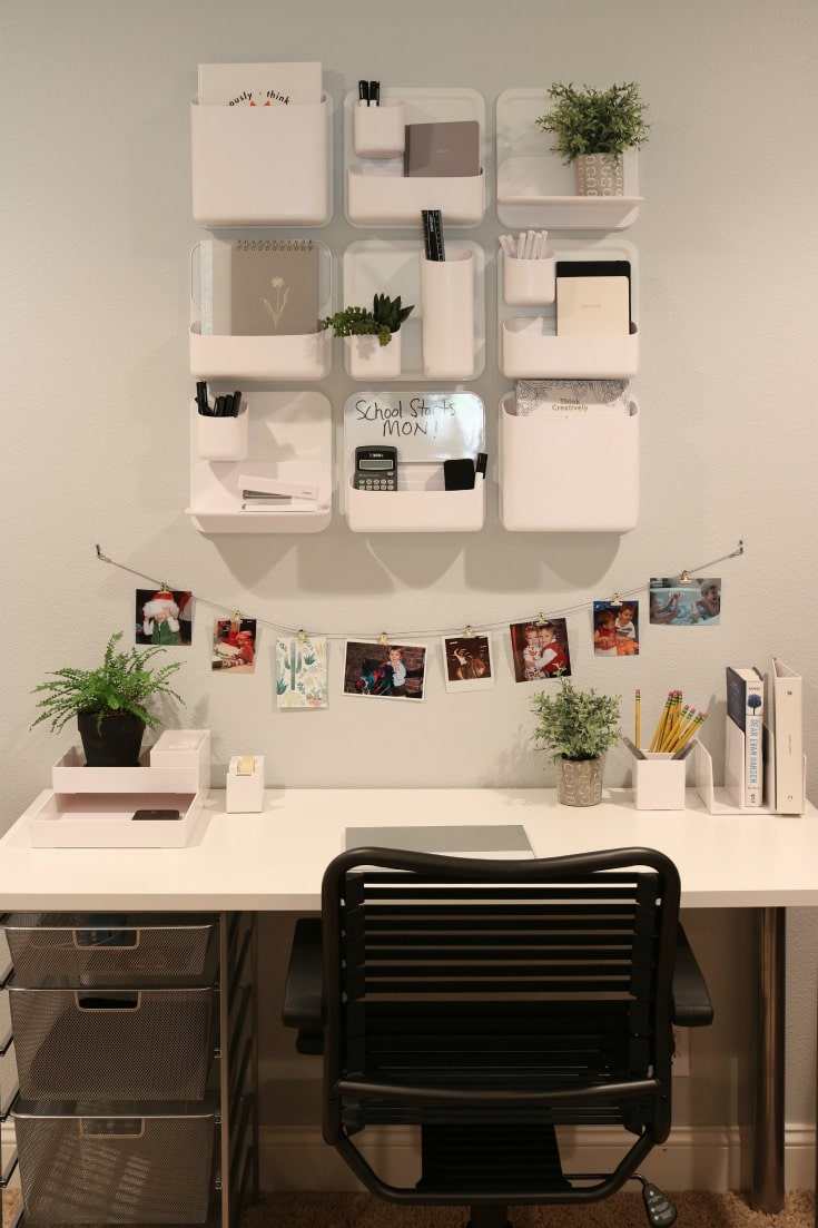 organized study area provides storage and space for creativity