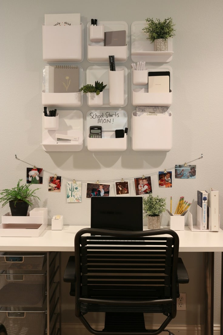 organized wall system creates fun and personal homework station