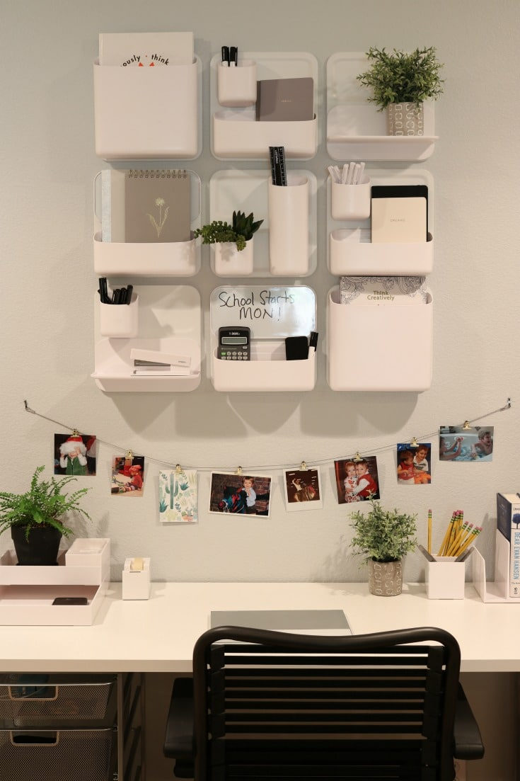 personalized homework area with magnetic wall storage system