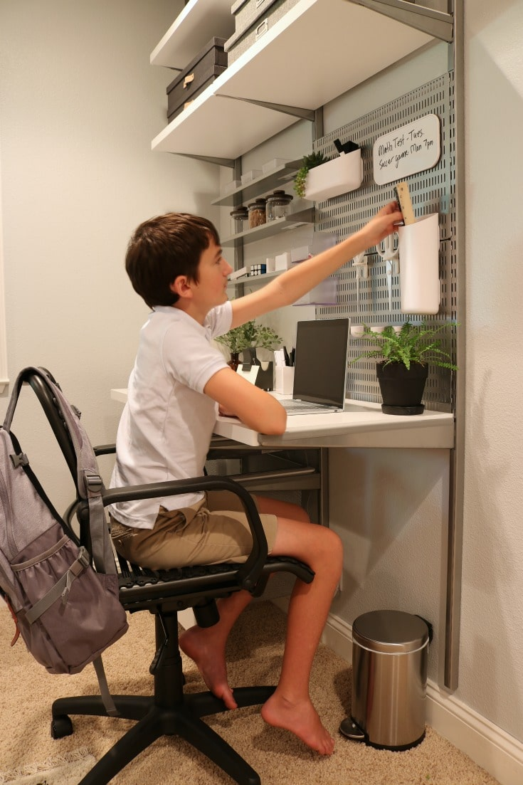 organized homework station creates storage for everything within reach