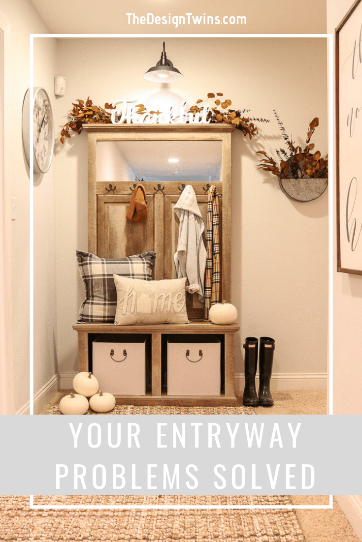 Your Entryway Problems solved with beautiful farmhouse unit provides storage and stylish decor