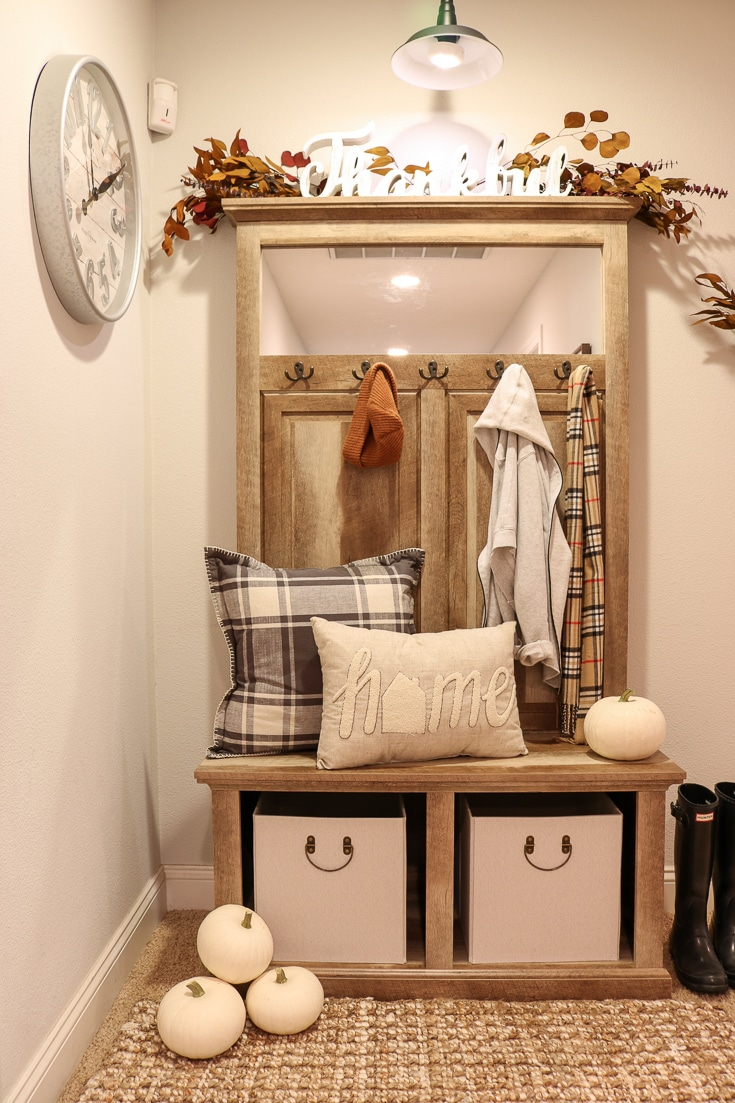 Hallway storage problems solved with attractive farmhouse bench and storage furniture unit