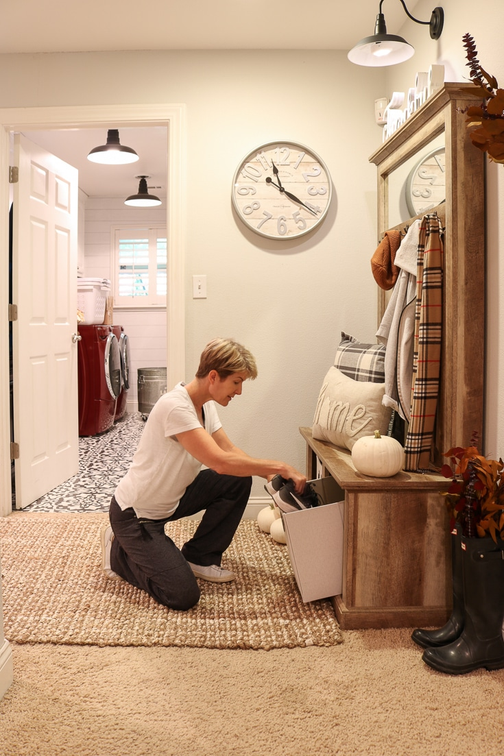 Farmhouse rustic wood furniture solves entryway storage needs