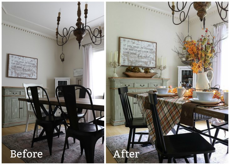 Before and After photos of my fall dining room update using beautiful warm colors, plaid table cloth and tableware.