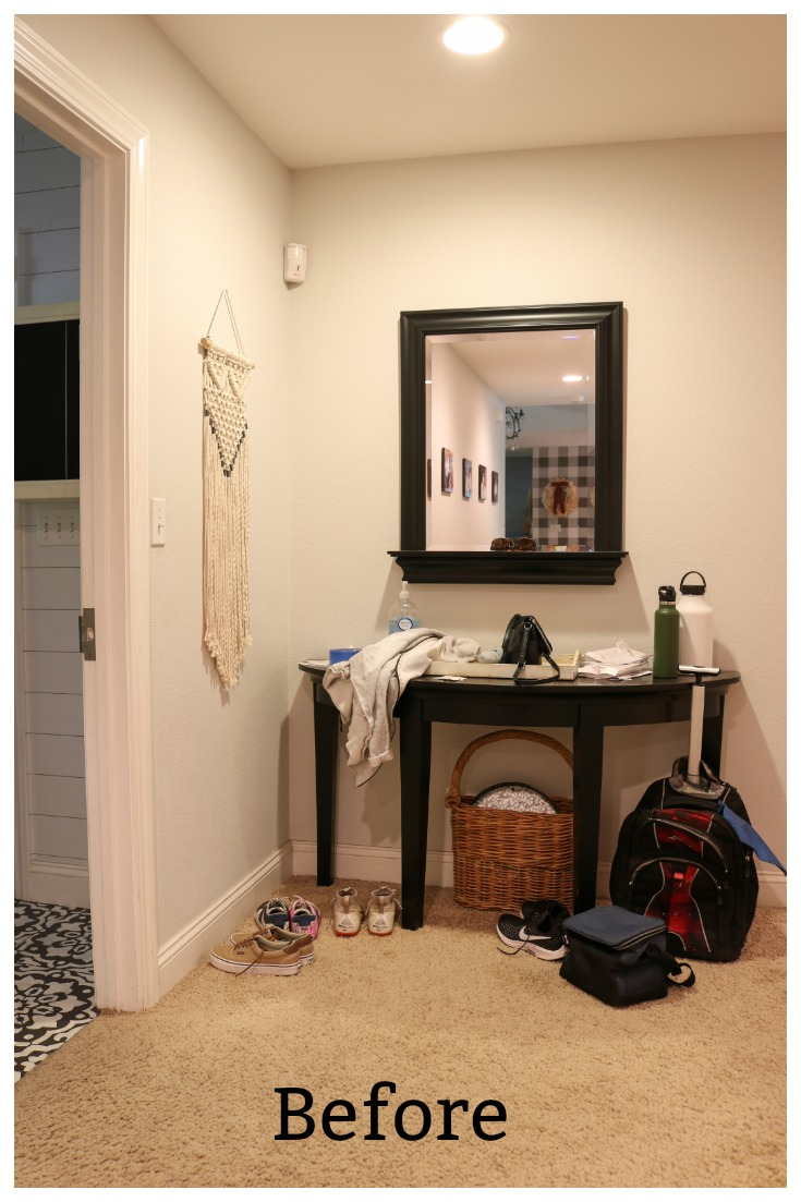 Messy Entryway needs storage and decorating solutions