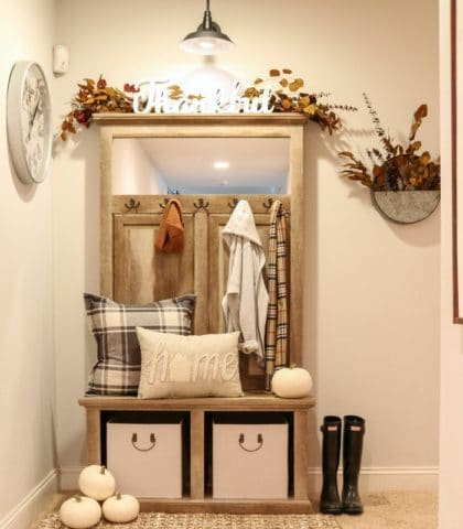 farmhouse style bench and storage unit solves entryway problems