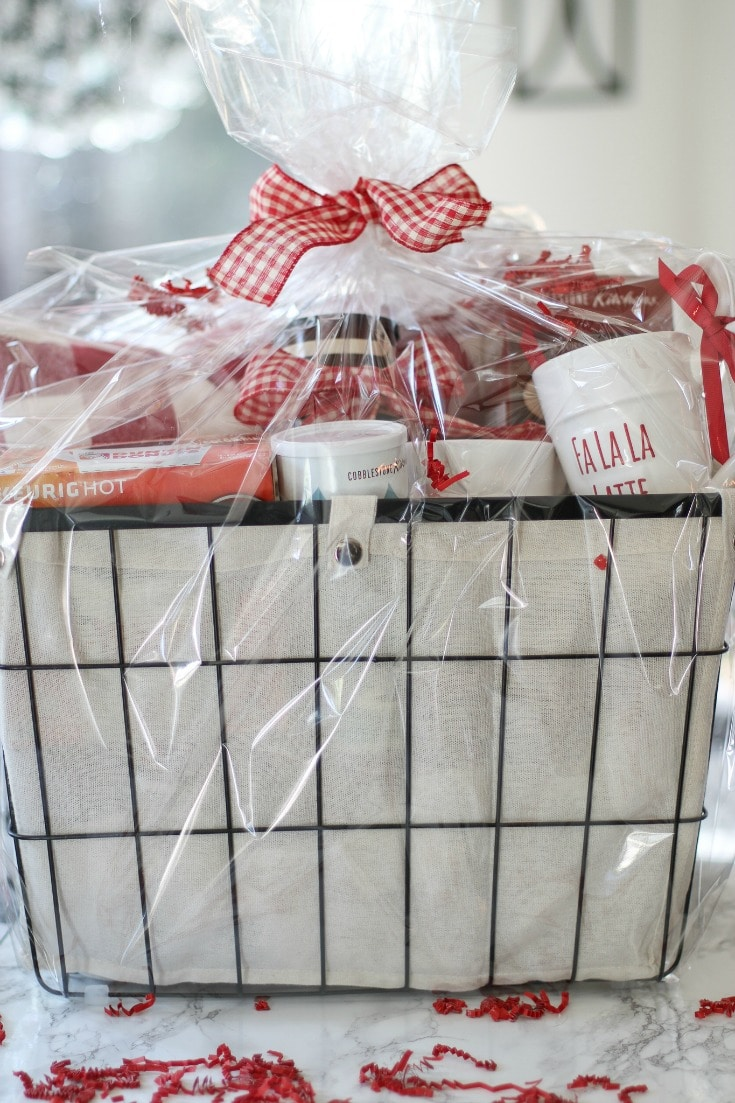 cozy Christmas morning basket perfect for co-workers, in-laws or neighbors