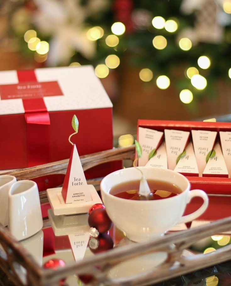 Serve delicious and festive tea from the Warming Joy collection from Tea Forte for loved ones this season