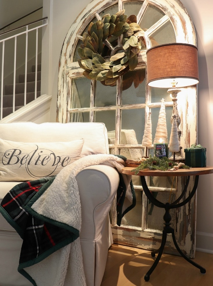 cozy seating corner with believe pillow and green sherpa throw from Better Homes and Gardens at Walmart