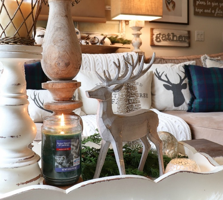 Vermont White Spruce candle from Better Homes and Gardens at Walmart with deer figurine
